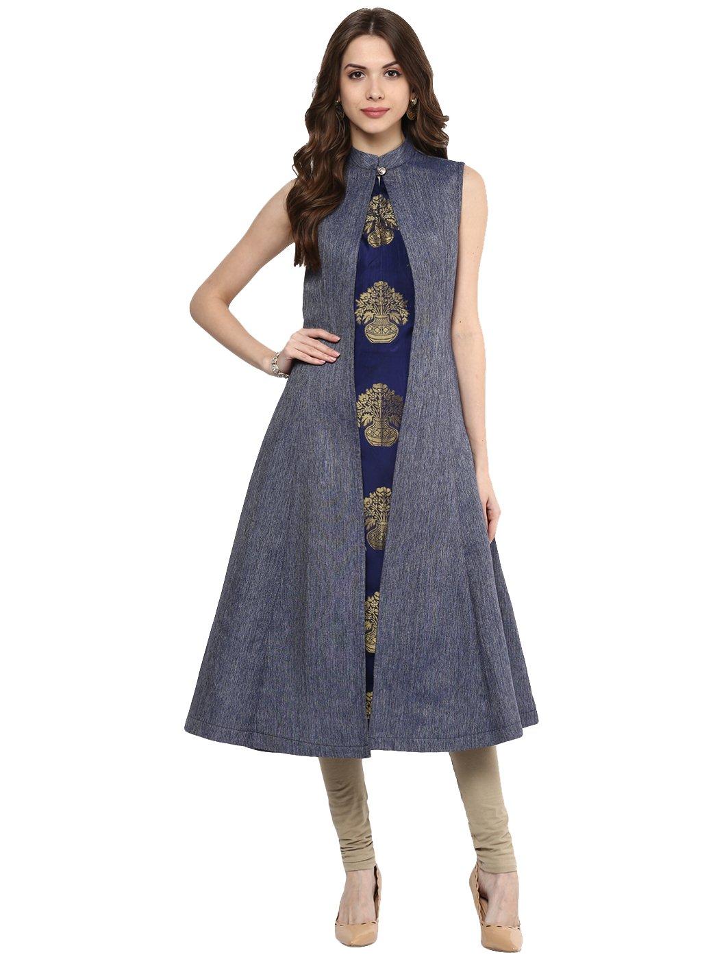 Aahwan Indian Kurtis for Women Blue Denim and Taffteta Silk A-line Sleeveless Calf Long Dress Large Blue