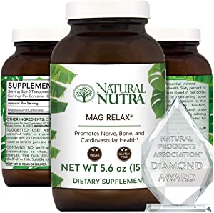 Natural Nutra Mag Relax® Magnesium Powder (Carbonate to Citrate with Water), Anti Stress, Calm, Sleep, Relax and Restore Supplement, Refreshing Lemon Citrus Flavor, Vegan, 5.6 Oz