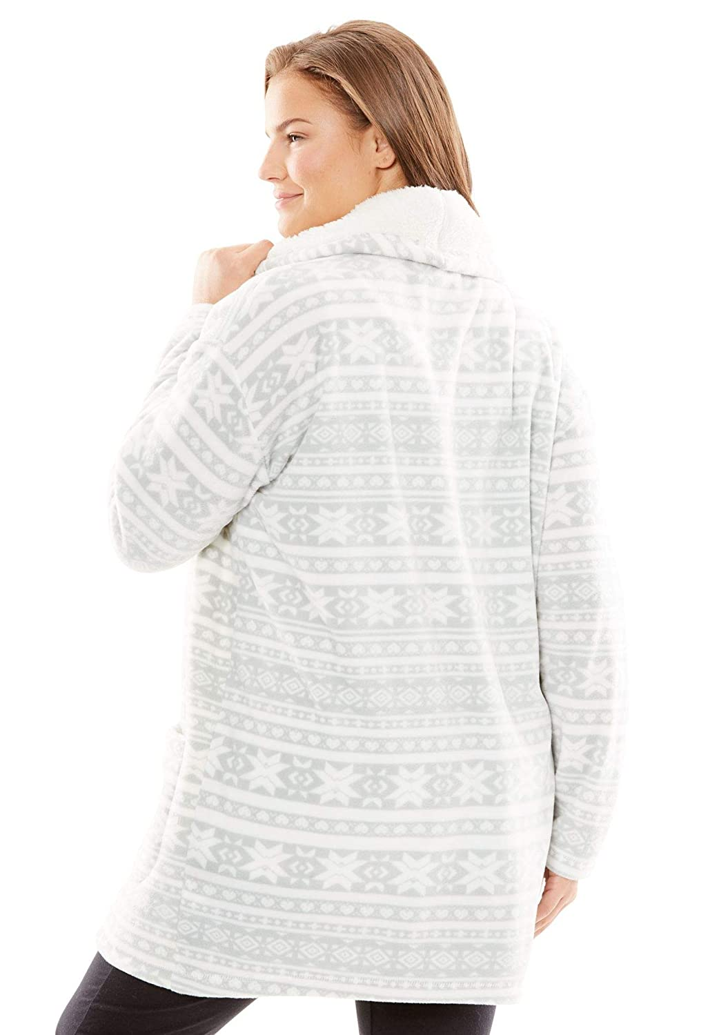 f4f1a0fbaa4350 Dreams & Co. Women's Plus Size Sherpa-Lined Microfleece Bed Jacket at  Amazon Women's Clothing store:
