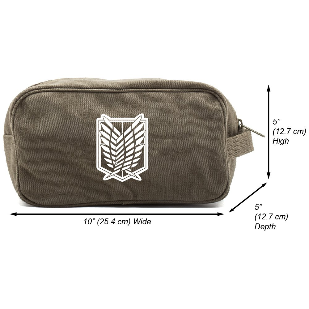 Attack on Titan Dual Wing Shower Kit Travel Toiletry Bag Case, Olive & White