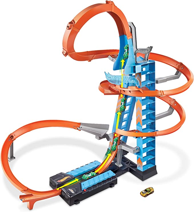Amazon.com: Hot Wheels Sky Crash Tower Track Set, 2.5+ ft / 83 cm High with Motorized Booster, Orange Track & 1 Vehicle, Race Multiple Cars, Gift for Kids 5 to 10 Years Old & Up (GWT39): Toys & Games