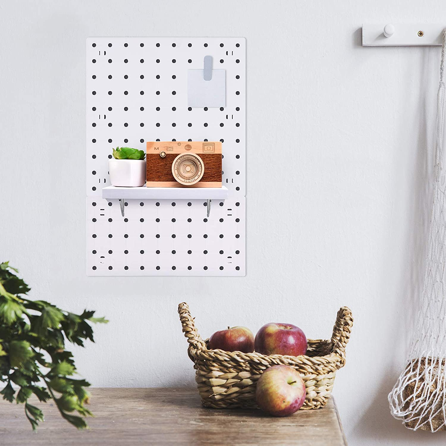 Wall Storage Ornaments Display Riakrum Pegboard Shelf Kit Wooden Pegboard Storage Wall Shelf and Hooks Pegboard Accessories for Crafts Organizing