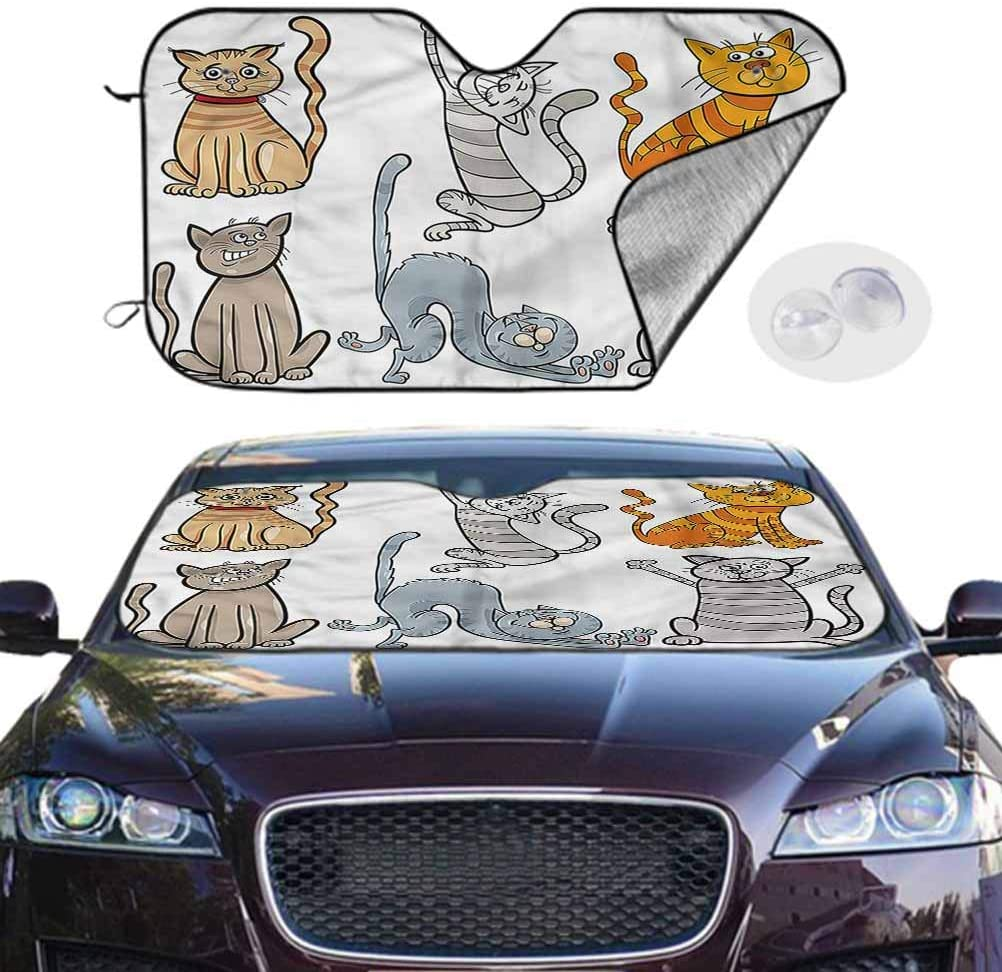 TableCoversHome Auto Sunshades Windshield Cute UV Sun and Heat Reflector Cat with Hilarious Expressions, 30 x 55 Inch, Auto Parts
