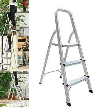 Escalera plegable de 3 peldaños de aluminio, 330 libras de carga ...