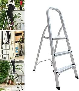 Escalera plegable de 3 peldaños de aluminio, 330 libras de carga máxima, antideslizante, para decoración del hogar, cocina, oficina, hogar: Amazon.es: Bricolaje y herramientas