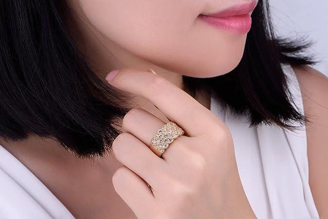 Yoursfs anillos para mujer tres veces chapdo en oro rosa 18k zircón brillante: Amazon.es: Joyería