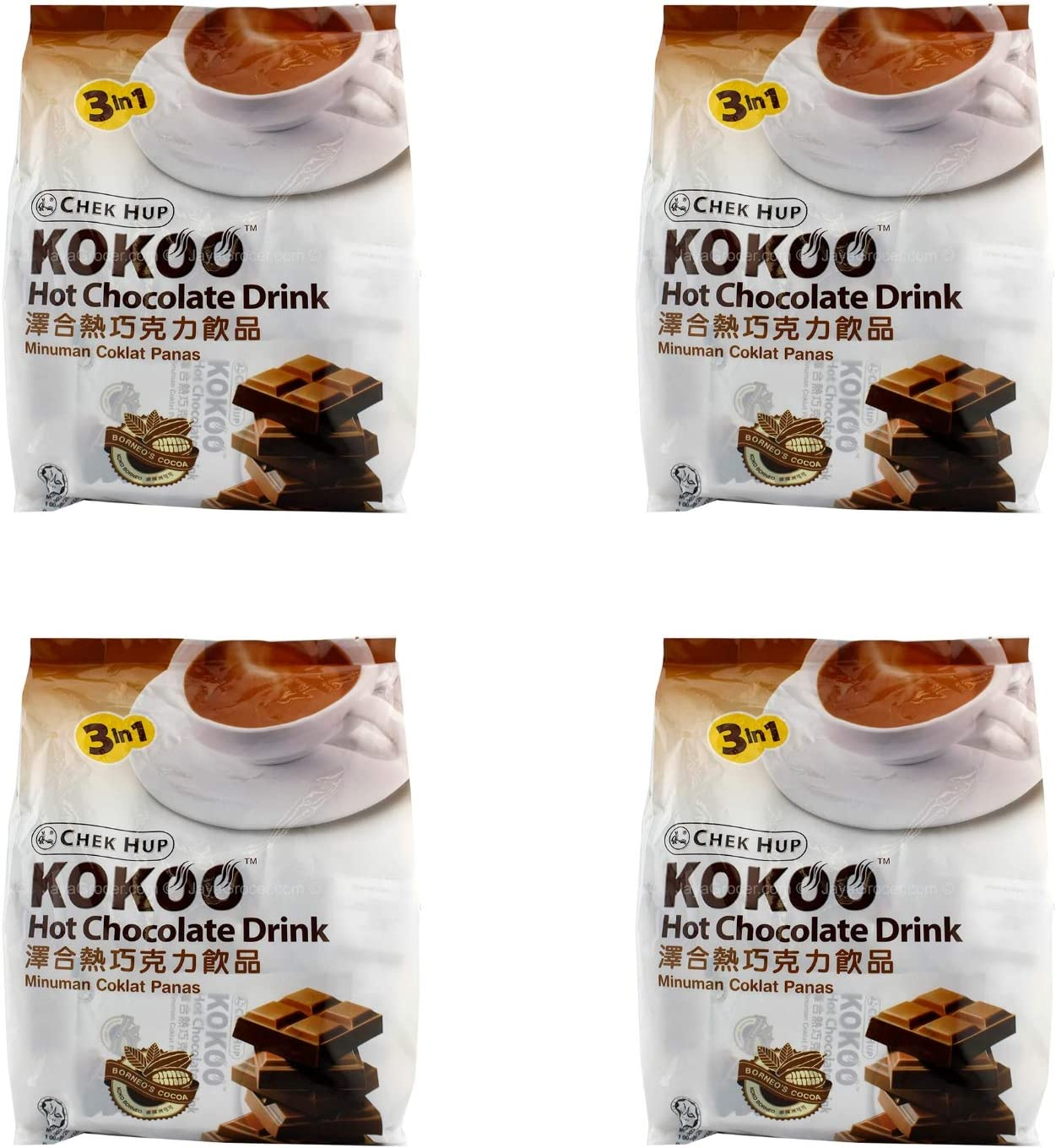 4 Pack Chek Hup 3 in 1 KoKoo Hot Chocolate Drink Imported from Malaysia (4x12 sachets)