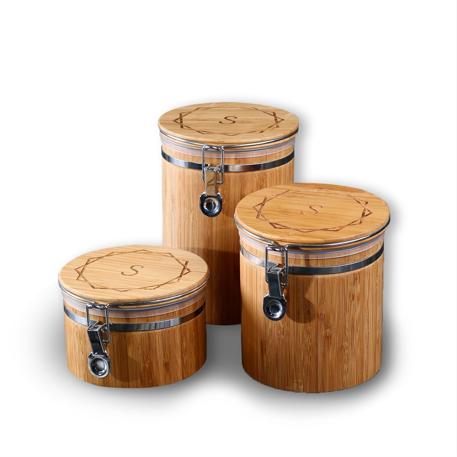 DG Custom Set of 3 Personalized Wooden Bamboo Canisters in Three Sizes - Free Custom Engraving - Best Gift for the New House