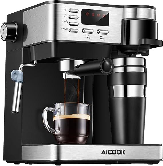 Aicook Cafetera Multifuncion 3 en 1 Espresso, Goteo y Espumador Máquina de café Expresso de 15 Bares y cafetera un Solo Servicio con Taza para café, Leche fría para Capuchino y café