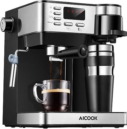Aicook Cafetera Multifuncion 3 en 1 Espresso, Goteo y Espumador Máquina de café Expresso de 15