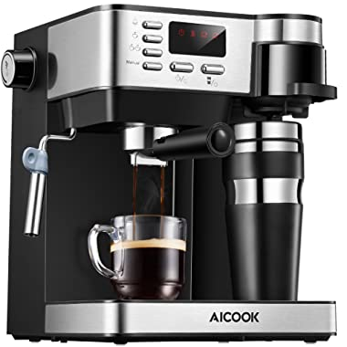 AICOOK Espresso and Coffee Machine, 3 in 1 Combination 15 Bar Espresso Machine and Single Serve Coffee Maker With Coffee Mug, Milk Frother for Cappuccino and Latte