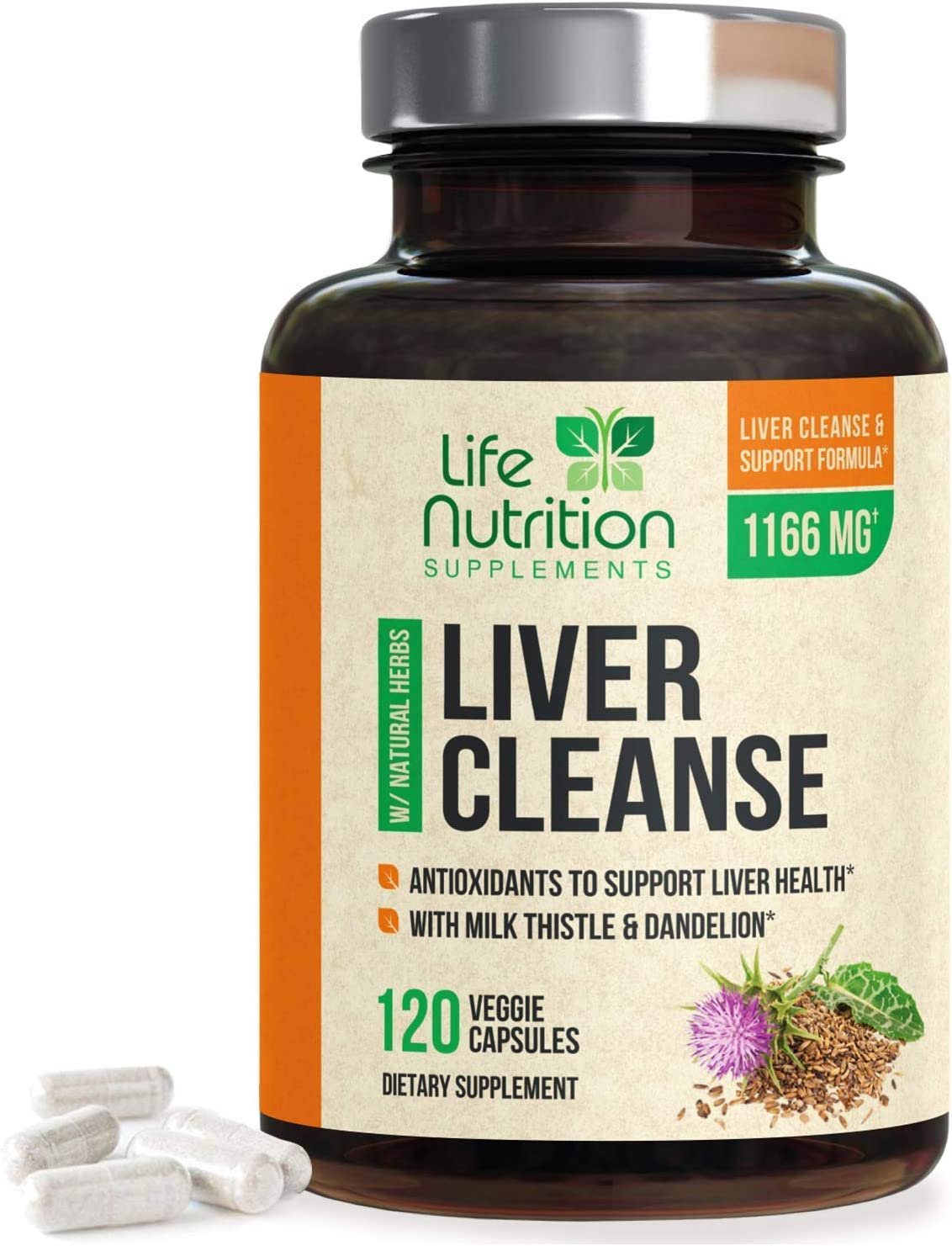 Liver Cleanse Formula 1100mg - Extra Strength 22 Herbs Support Supplement - Made in USA - Best Vegan Milk Thistle Extract, Silymarin, Beet, Artichoke, Dandelion, Chicory Non-GMO - 120 Capsules