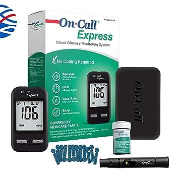 On Call Express Diabetes Testing Kit- On Call Express Blood Glucose Meter,  10 Blood Test Strips, 1 Lancing