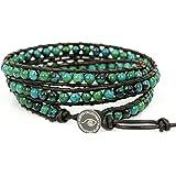 "BLUEYES COLLECTION ""Amicable"" Blue Mix Green ChrysocollaGemstone Beads Genuine Leather Bracelet, 3 Wraps"