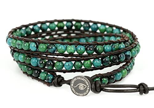 """BLUEYES COLLECTION """"Amicable"""" Blue Mix Green ChrysocollaGemstone Beads Genuine Leather Bra..."""