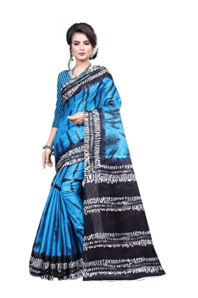 077591b6e792ef Nirja Creation Sky Blue Color Fancy Bhagalpuri Khadi Silk Saree  Amazon.in   Clothing   Accessories