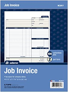 Adams Job Invoice Forms, 2-Part Carbonless, for Service and Repair Billing, 100 Individual Sets Per Pack (NC2817), White, 8-1/2 x 11