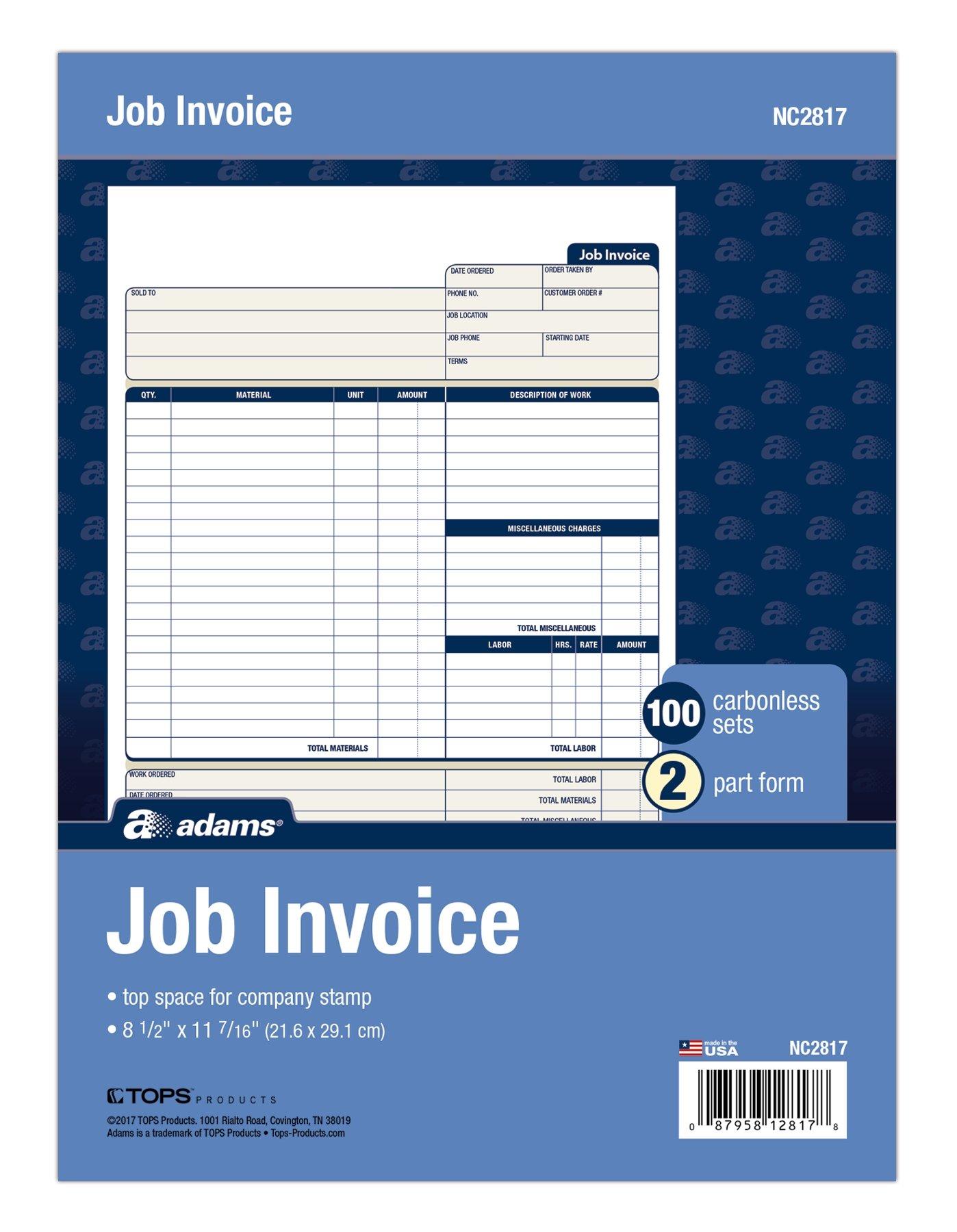 Adams Job Invoice Book, 2-Part Carbonless, 8-1/2'' x 11'', 100 Sets per Pack (NC2817)