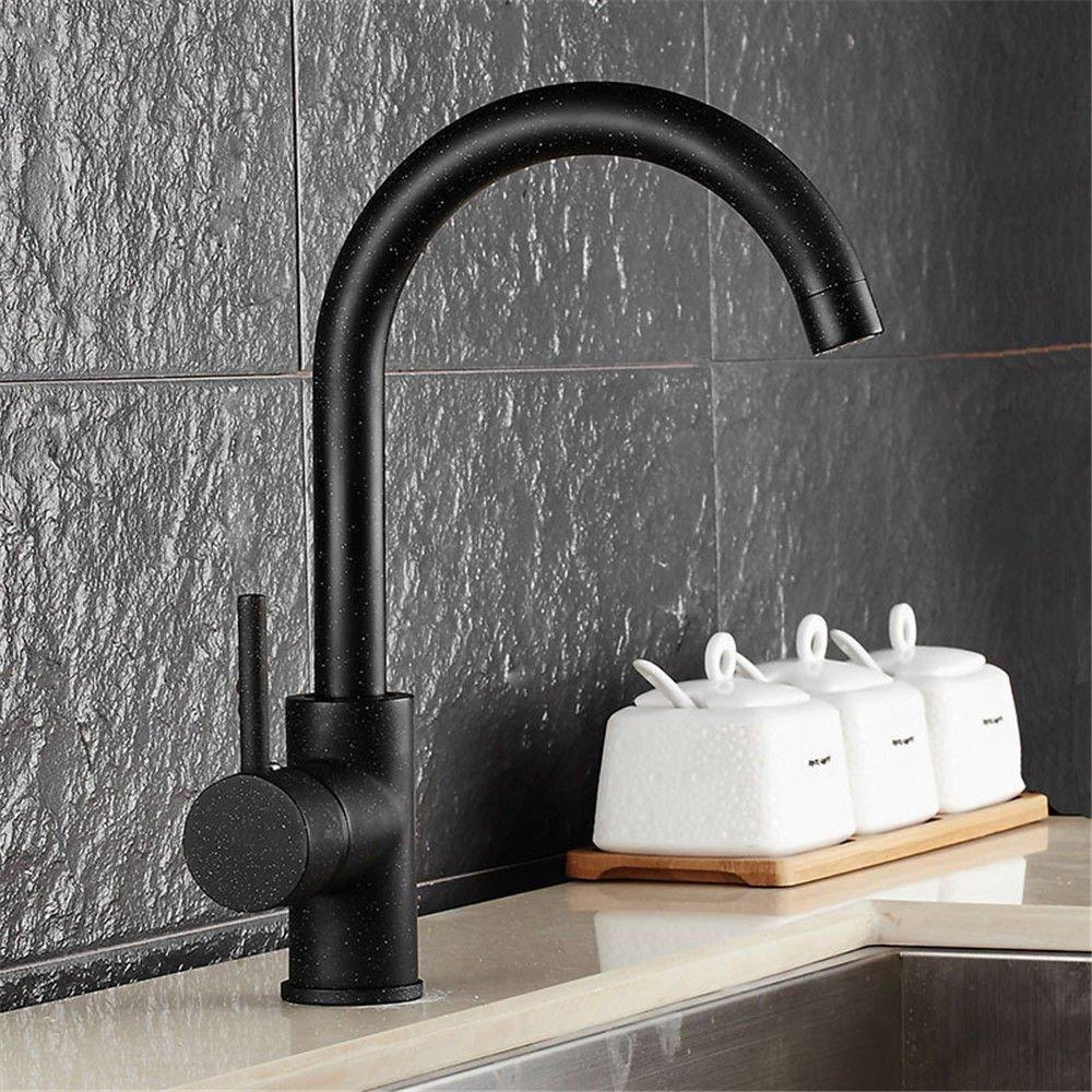 Hlluya Wasserhahn für Waschbecken Küche Das Kupfer Küche Küche Küche Wasserhahn 360° drehbar Mischen von heißem und kaltem Wasser Ventil Wasser Waschen Schüssel Flachkopf Wasserhahn schwarz Einloch Mischbatterie 8254c0