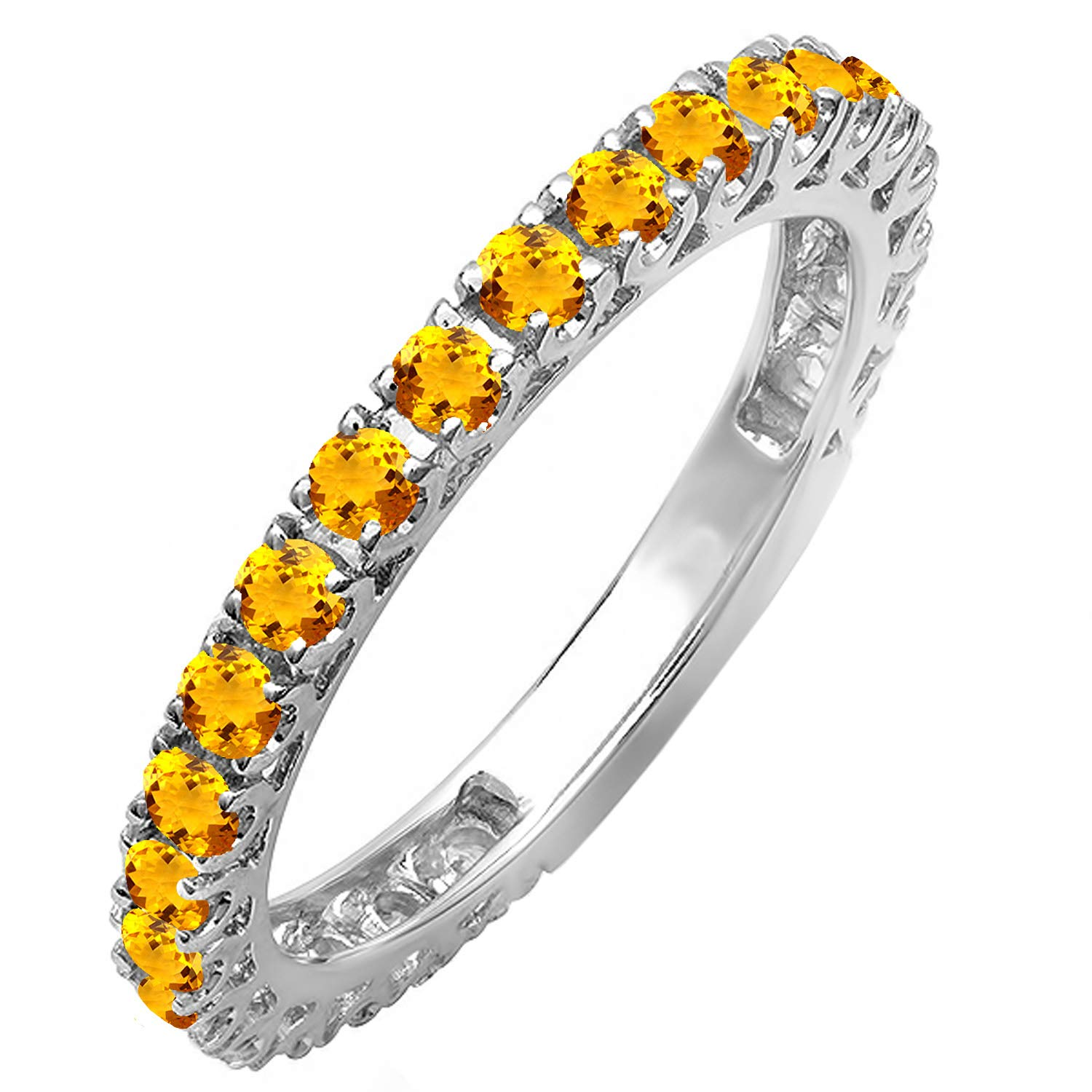 Dazzlingrock Collection 10K Round Citrine Eternity Sizeable Stackable Wedding Band, White Gold, Size 7 by Dazzlingrock Collection