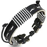 Zense - Bracelet homme ajustable en cuir véritable de couleur noire et brins de couleur blanche ZB0220