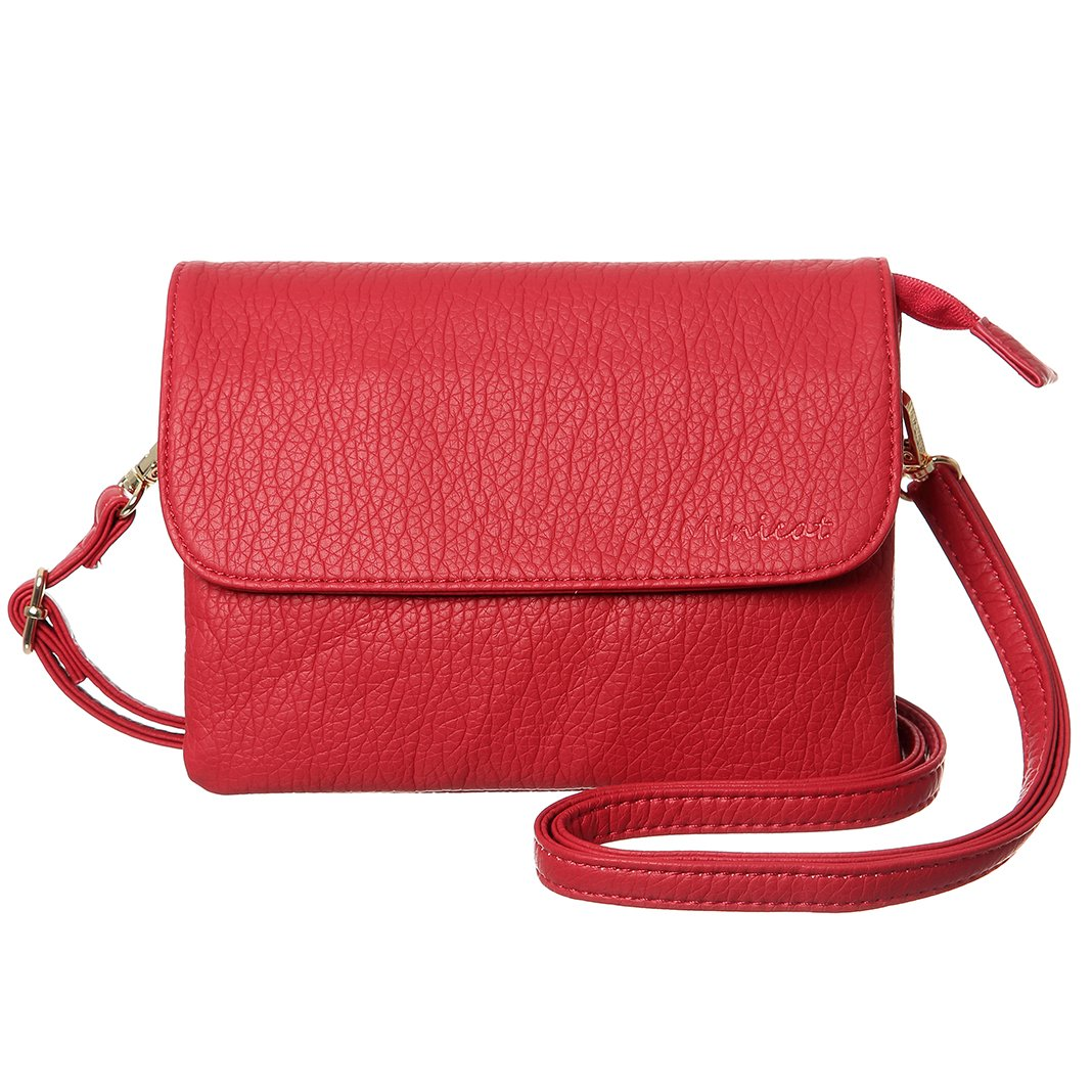 MINICAT Snythethic Leather Small Crossbody Bag Cell Phone Purse Wallet For Women(Red-Small Size)