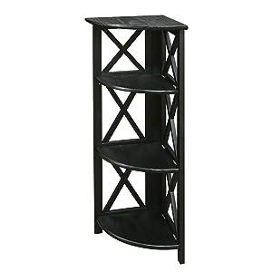 Casual Home Montego 3-Shelf Corner Folding Bookcase with Mantel Top, Black
