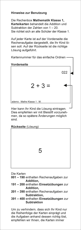 Atemberaubend Karteibox Mathe, Klasse 1: Rechenaufgaben für das 1. Schuljahr #SK_43