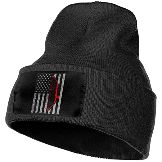 4e90f096b7979 Unisex Winter Hats Archery Bow Hunting US Flag Skull Caps Knit Hat Cap  Beanie Cap for