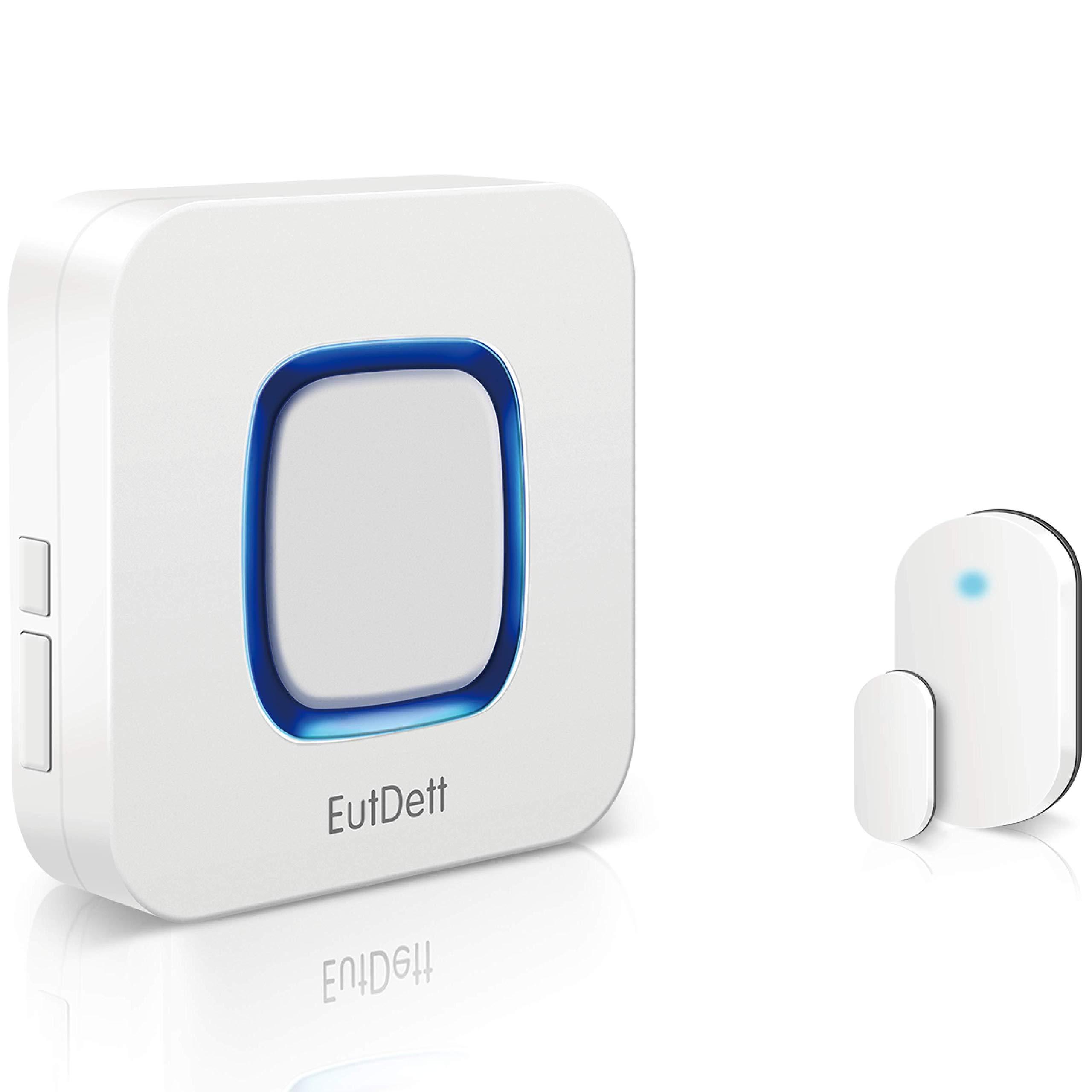 Door/Window Alarm, EutDett Wireless Door Chime Operating Range 600FT/52Chimes/4 Volumes/LED Indicator, 1 Magnetic Door Sensor & 1 Plugin Receiver for Home Security/Business/Garage (DS-B17)