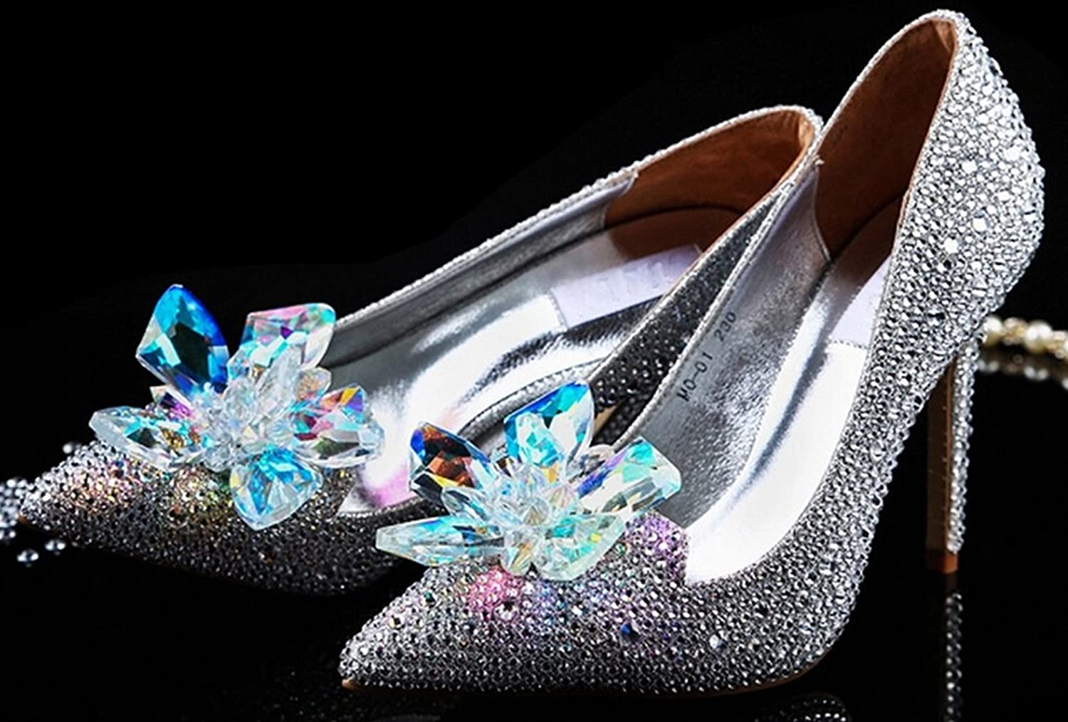 Amazon.com: Littleboutique Cinderella Princess Crystal Shoes Glass Flower Wedding  Shoes Evening Dress Heels White 3: Shoes
