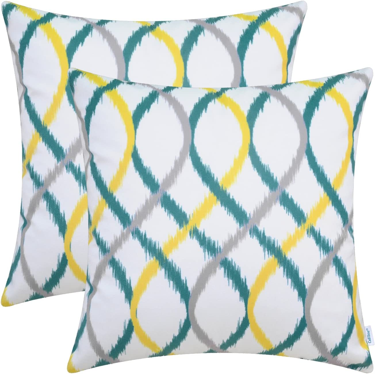 CaliTime Pack of 2 Cozy Fleece Throw Pillow Cases Covers for Couch Bed Sofa Modern Four-Tone Waves Geometric 18 X 18 Inches Gray/Teal/Yellow