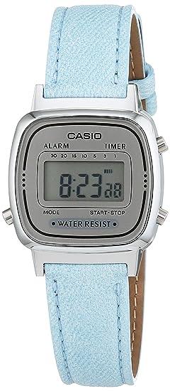 Casio LA670WEL-2AEF - Reloj de mujer con correa de piel, color azul: Amazon.es: Relojes