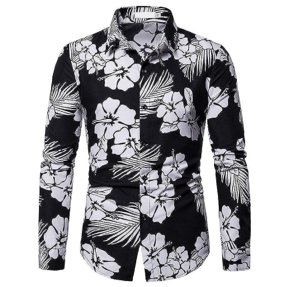 Vska Mens Square Collar Printing Casual Silm Fit Long-Sleeve Western Shirt