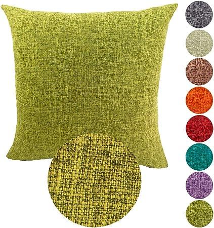 KAMIXIN Fundas De Cojines Algodón de Lino Square Decoración para Hogar Sofá Cama Coche Fundas Cojines Funda de Almohada Color Sólido Verde 45X45CM: Amazon.es: Hogar