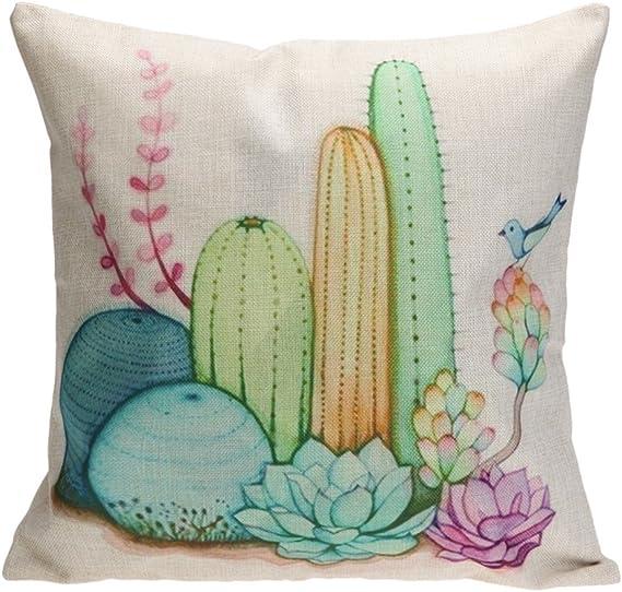 Amazon Com Whitelotous 18 X 18 Inch Creative Cactus Succulent Plants Cotton Linen Decorative Square Cushion Cover Throw Pillow Case Home Sofa Car Decor 2 Home Kitchen