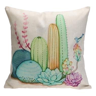 Whitelotous 18 x 18 Inch Creative Cactus Succulent Plants Cotton Linen Decorative Square Cushion Cover Throw Pillow Case Home Sofa Car Decor (2#)
