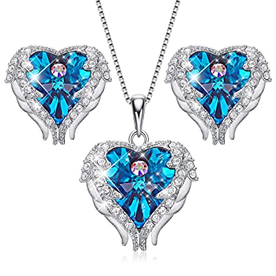 "a92692d5a Image Unavailable. Image not available for. Color: CDE ""Angel Wing  S925 Sterling Silver Jewelry Set Heart of Ocean Swarovski Crystals Pendant"
