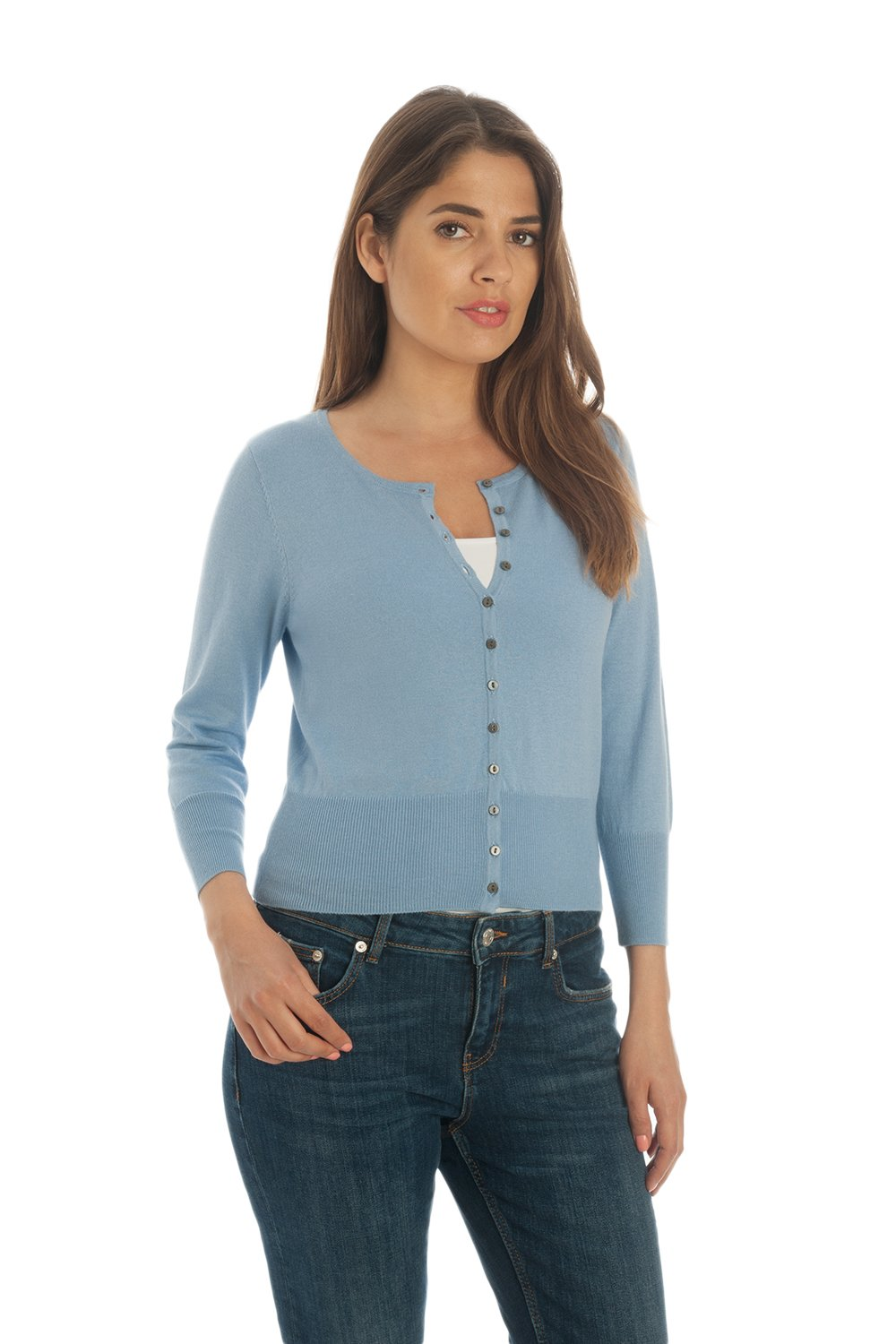 Adorawool - Cardigan Sweater for Women - Luxury Silk & Cotton - Button Down - Cropped Crew - 3/4 Sleeve - Maya Blue - Size Large by Adorawool (Image #3)