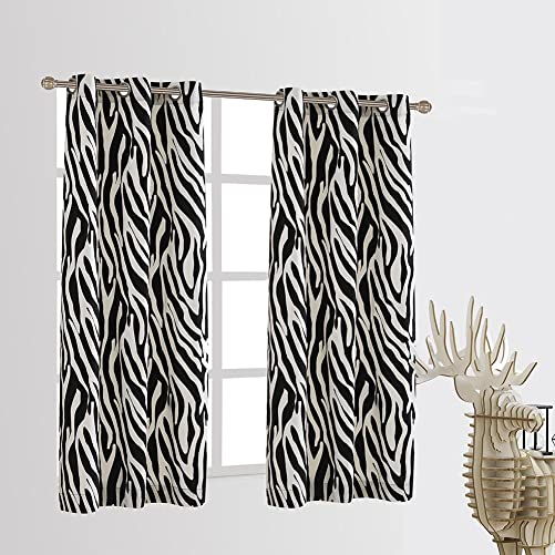 Cherry Home Set of 2 Zebra Blackout Energy Saving Noise Reducing Window Curtain Panel 42×63