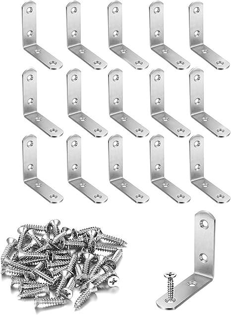 16X Stainless Steel 90 Degree L Shape Corner Joint Brace Bracket with Screws Set