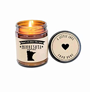 Minnesota Candle Scented Candle State Candle Gift No Place Like Home Thinking of You Holiday Gift Christmas Gift