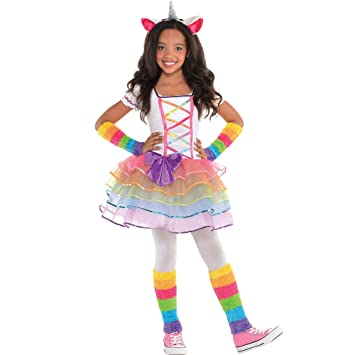 AMSCAN Rainbow Unicorn Halloween Costume for Girls, Medium with Included  Accessories