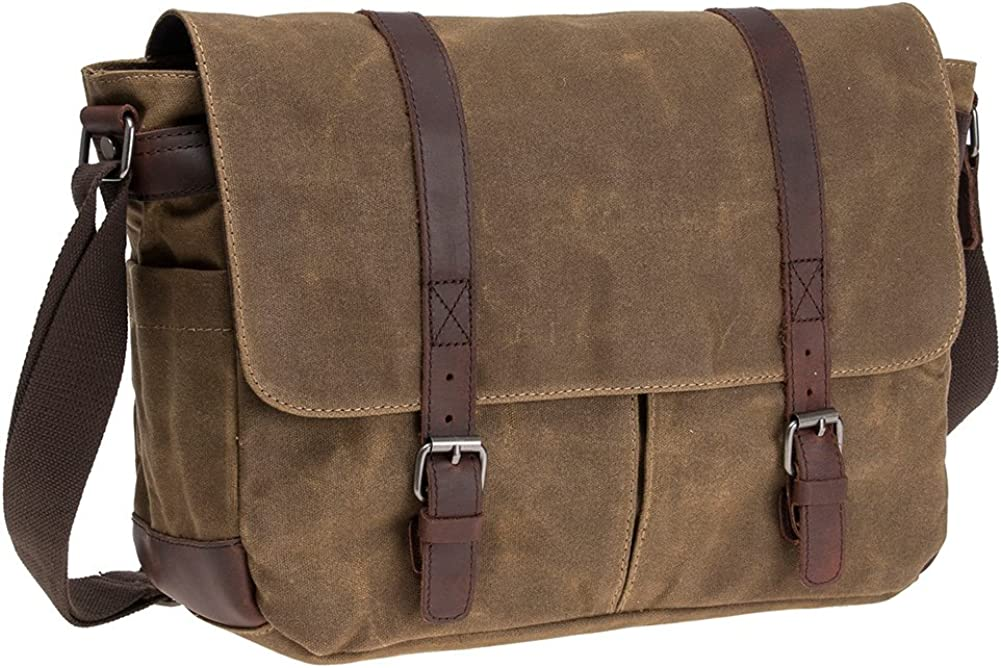 "Waterproof Waxed Canvas 15"" Macbook pro/ 14'' Laptop Messenger Bag Men Business Vintage shoulder bag/Briefcase"