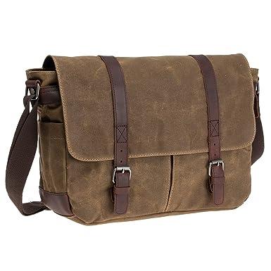 Waterproof Waxed Canvas 15.6 quot  Laptop Messenger Bag Men Business  Vintage shoulder bag Briefcase ( 47ddd5e6e0683