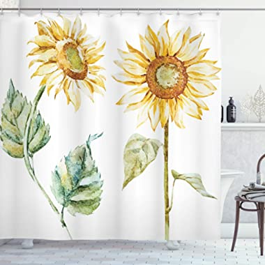 Ambesonne Watercolor Shower Curtain, Alluring Sunflowers Summer Inspired Design Agriculture, Cloth Fabric Bathroom Decor Set with Hooks, 70  Long, Yellow Green