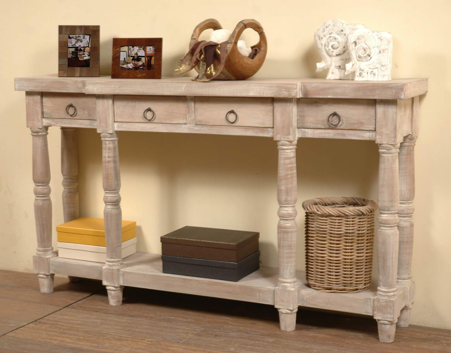Sunset Trading CC-TAB1013S-LW Shabby Chic Cottage Table, Four Drawer, Gray washed by Sunset Trading