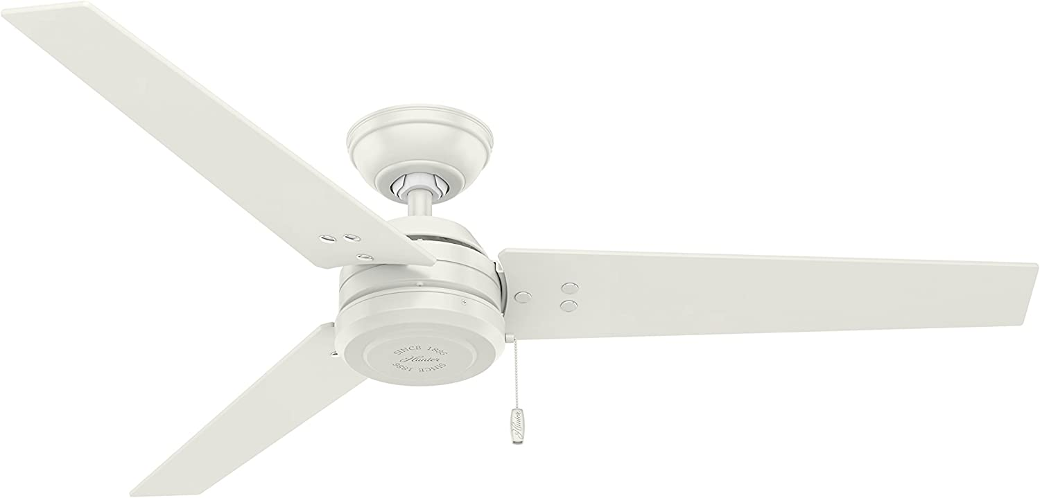 Hunter Indoor / Outdoor Ceiling Fan, with pull chain control - Cassius 52 inch, White, 59263