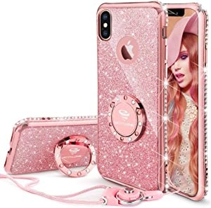 Cute iPhone Xs Max Case, Glitter Luxury Bling Diamond Rhinestone Bumper with Ring Grip Kickstand Protective Thin Girly Pink iPhone Xs Max Case for Women Girl - Rose Gold Pink