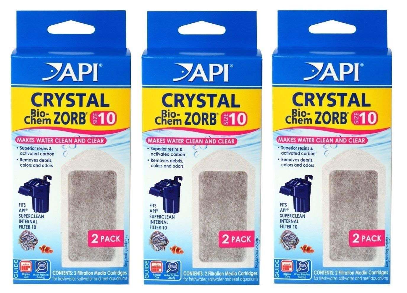 Filter Cartridge 6 API Crystal Bio-Chem Zorb Size 10 Internal Filter Cartridge 6 Pk (3x2 Pack)